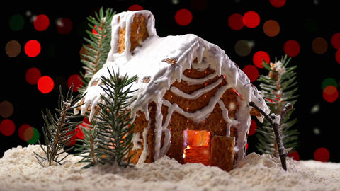 Gingerbread House With Christmas Lights stock footage