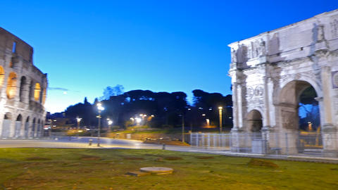 Triumphal Arch of Constantine at dawn. Rome. Italy Footage