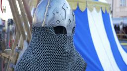 Chain Mail Medieval Helmet stock footage