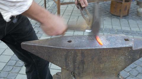 Blacksmith Hammers Iron stock footage