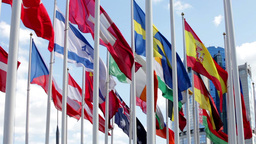 Flags of different countries flapping in wind Footage