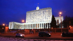 Night traffic near The White House, Moscow, Russia Footage
