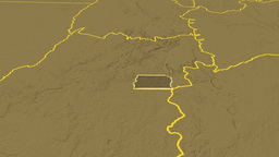 Distrito Federal - Brazil region extruded. Bumps Animation