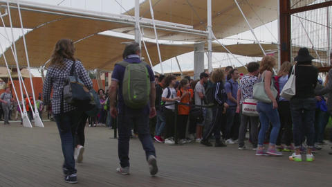 Milan Expo 2015 Italy International Exposition Visitors People Waiting Line Footage