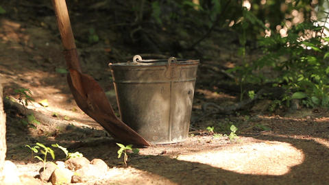 Steel Pail And Shovel stock footage