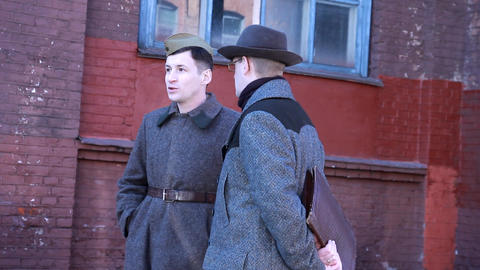 Soviet Soldiers Talking To A KGB Agent. 1941-1945 stock footage