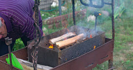 Kindle Fire For Barbecue. A Great Flame With Smoke stock footage