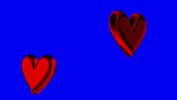 Two hearts moving back and forth together, loopable Animation