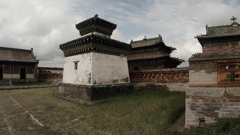 a little old Mongolian Buddhist temple complex of ancient monastery Footage
