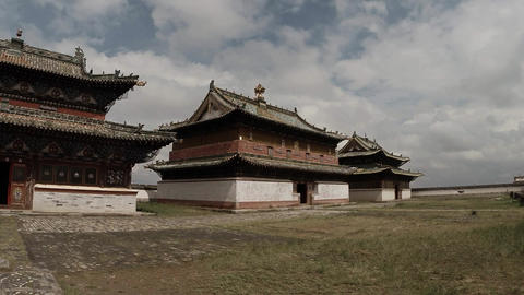 Colorful ancient Buddhist temples, stupas and wall in old Mongolian monastery Footage