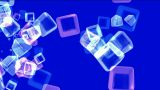 crystal necklace,color glass cubes shaped flower pattern and ice block,tech web square matrix.partic Animation