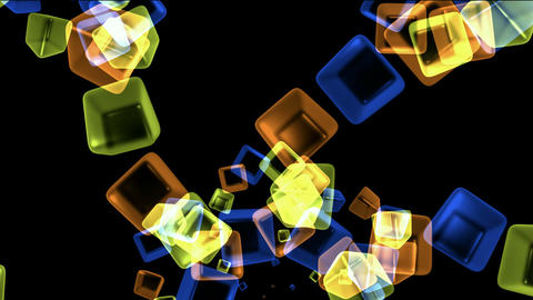 color glass cubes shaped flower pattern and ice... Stock Video Footage