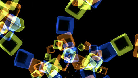 color glass cubes shaped flower pattern and ice block,crystal necklace,tech web square matrix.partic Animation