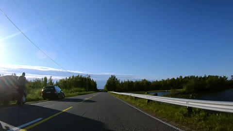 Driving on Embankment and through Forest Stock Video Footage