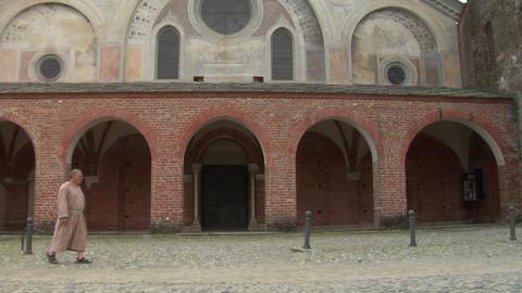 abbey monk 01 Stock Video Footage