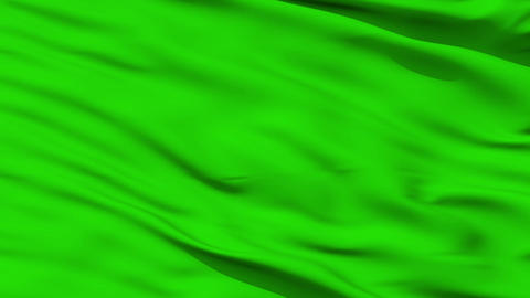 Waving green blank flag closeup Animation