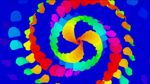 swirl color feathers & paper debris shaped ribbon gear Stock Video Footage