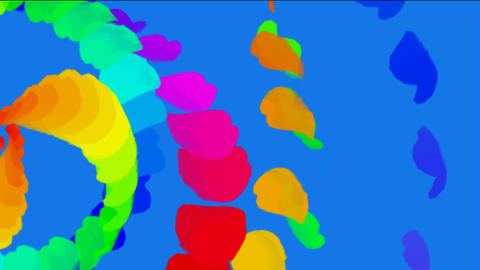rotation color feathers & paper debris shaped ribbon... Stock Video Footage