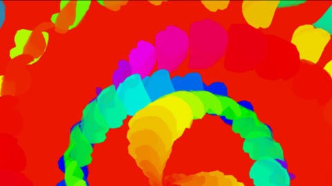 rotation color feathers & paper debris shaped ribbon windmill,flying flags Animation