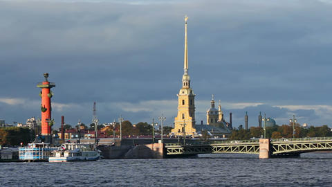 The Peter and Paul Fortress, Rostral Column and Pa Stock Video Footage