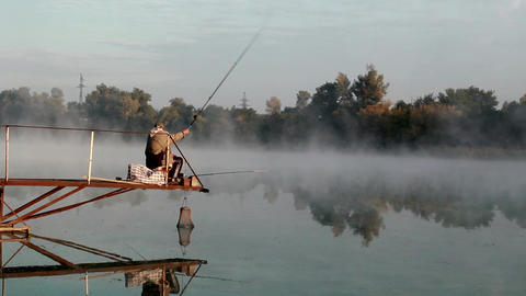 Morning fishing Stock Video Footage