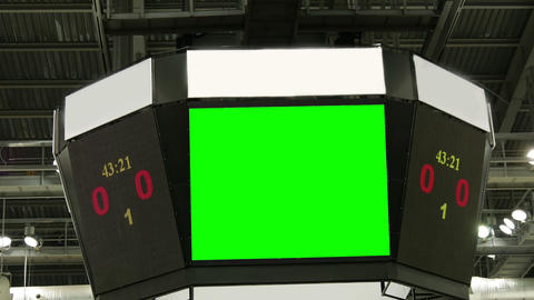Scoreboard at the stadium with a green screen and banners Footage