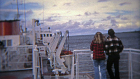 SEATTLE, WASHINGTON 1974: Lovers on a ship dreaming of a better tomorrow Footage