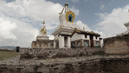 White Old Buddhist Temple Against The Blue Sky stock footage