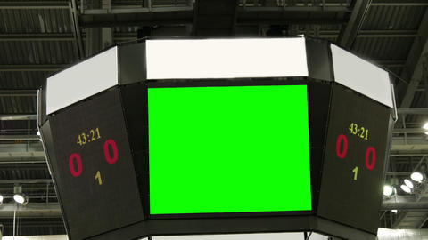 Green screen at the stadium scoreboard Live Action