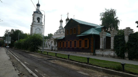 Church and repaired road with cars in September 2015, Moscow Footage