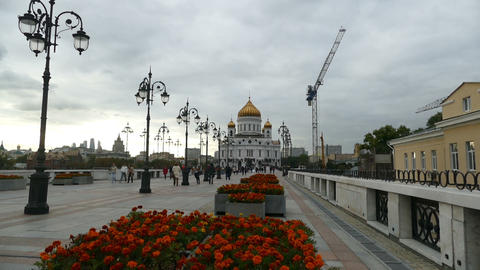 Christ The Savior Cathedral, Flowers And Crane, 2015 September, Moscow stock footage