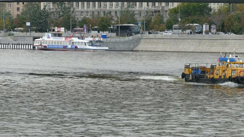 Little ship on the river Footage