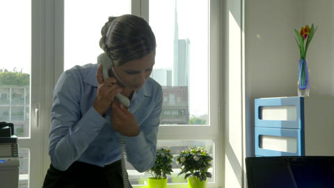 Businesswoman Manager Business Woman Secretary Talking On Phone In Office Footage