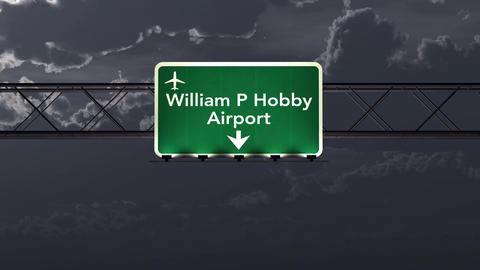 4K Passing Houston Hobby USA Airport Sign at Night with Matte 1 neutral Animation