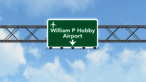 4K Passing Houston Hobby Airport Sign with Matte 2 stylized Animation