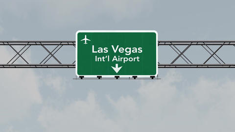 4K Passing Las Vegas Airport Sign with Matte 3 neutral Animation