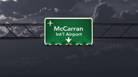 4K Passing Las Vegas USA Airport Sign at Night with Matte 1 neutral Animation