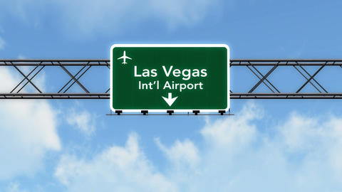 4K Passing Las Vegas Airport Sign with Matte 4 stylized Animation
