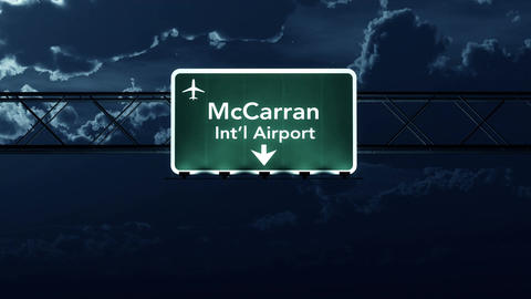 4K Passing Las Vegas USA Airport Sign at Night with Matte 2 stylized Animation