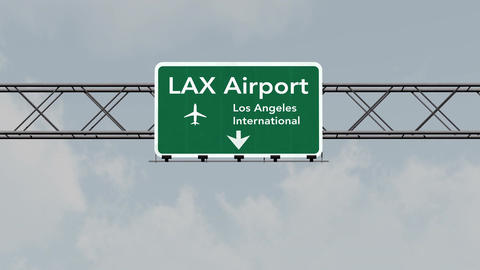 4K Passing Los Angeles Airport Sign with Matte 5 neutral Animation