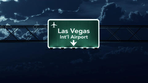 4K Passing Las Vegas USA Airport Sign at Night with Matte 4 stylized Animation