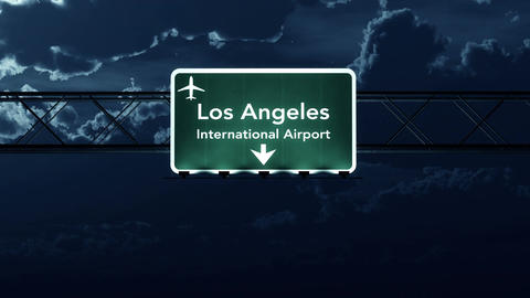 4K Passing Los Angeles USA Airport Sign at Night with Matte 4 stylized Animation