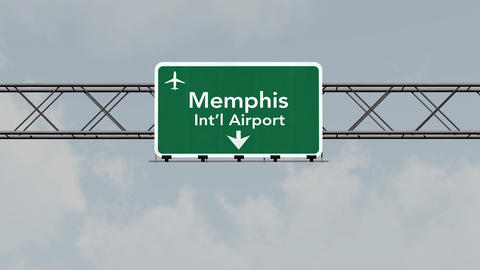 4K Passing Memphis Airport Sign with Matte 1 neutral Animation
