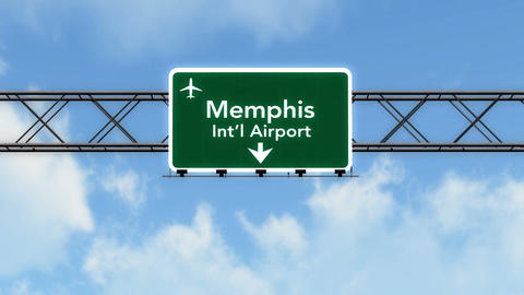 4K Passing Memphis Airport Sign with Matte 2 stylized Animation