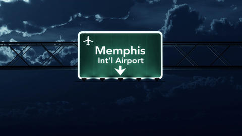 4K Passing Memphis USA Airport Sign at Night with Matte 2 stylized Animation
