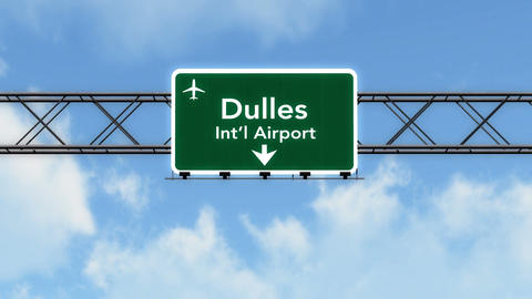 4K Passing Washington DC Dulles Airport Sign with Matte 4 stylized Animation