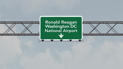 4K Passing Washington DC Reagan Airport Sign with Matte 3 neutral Animation