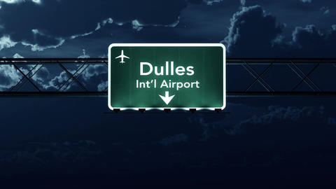 4K Passing Washington DC Dulles USA Airport Sign at Night with Matte 4 stylized Animation