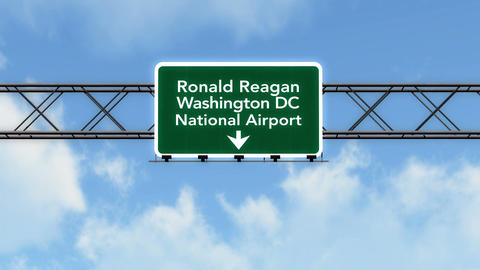4K Passing Washington DC Reagan Airport Sign with Matte 4 stylized Animation