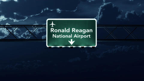 4K Passing Washington DC Reagan USA Airport Sign at Night with Matte 2 stylized Animation
